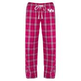 Ladies Dark Fuchsia/White Flannel Pajama Pant-Interlocking UB