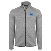 Grey Heather Fleece Jacket-Interlocking UB