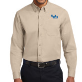 Khaki Twill Button Down Long Sleeve-Interlocking UB