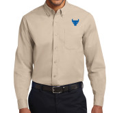 Khaki Twill Button Down Long Sleeve-Bull Spirit Mark