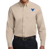 Khaki Twill Button Down Long Sleeve-Bull Spirit Mark