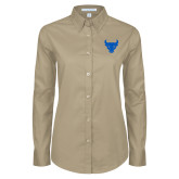 Ladies Khaki Twill Button Down Long Sleeve-Bull Spirit Mark