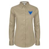 Ladies Khaki Twill Button Down Long Sleeve-Bull Spirit Mark