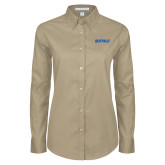 Ladies Khaki Twill Button Down Long Sleeve-Buffalo Word Mark