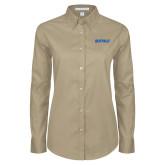 Ladies Khaki Twill Button Down Long Sleeve-Buffalo Word Mark