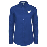 Ladies Royal Twill Button Down Long Sleeve-Bull Spirit Mark