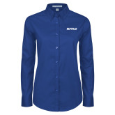 Ladies Royal Twill Button Down Long Sleeve-Buffalo Word Mark
