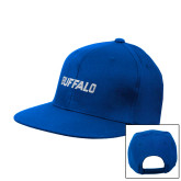 Royal Flat Bill Snapback Hat-Buffalo Word Mark