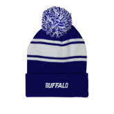 Royal/White Two Tone Knit Pom Beanie with Cuff-Buffalo Word Mark