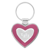 Silver/Pink Heart Key Holder-Interlocking UB Engraved