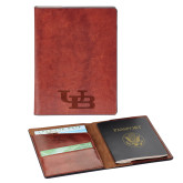 Fabrizio Brown RFID Passport Holder-Interlocking UB Engraved