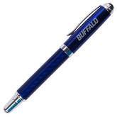 Carbon Fiber Blue Rollerball Pen-Buffalo Word Mark Engraved