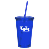 Madison Double Wall Blue Tumbler w/Straw 16oz-Interlocking UB