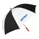62 Inch Black/White Umbrella-Buffalo Word Mark