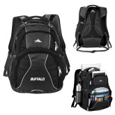 High Sierra Swerve Black Compu Backpack-Buffalo Word Mark