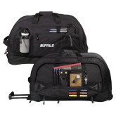 Urban Passage Wheeled Black Duffel-Buffalo Word Mark