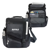 Momentum Black Computer Messenger Bag-Buffalo Word Mark