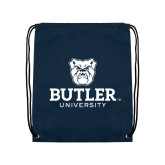 Navy Drawstring Backpack-Butler University Stacked Bulldog Head