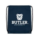 Navy Drawstring Backpack-Butler University Stacked Bulldog Head