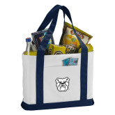 Contender White/Navy Canvas Tote-Bulldog Head