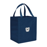 Non Woven Navy Grocery Tote-Bulldog Head