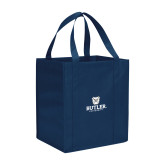 Non Woven Navy Grocery Tote-Butler University Stacked Bulldog Head