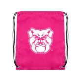 Pink Drawstring Backpack-Bulldog Head
