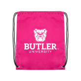 Pink Drawstring Backpack-Butler University Stacked Bulldog Head