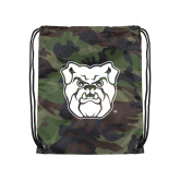 Camo Drawstring Backpack-Bulldog Head