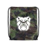 Camo Drawstring Backpack-Bulldog Head