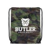 Camo Drawstring Backpack-Butler University Stacked Bulldog Head