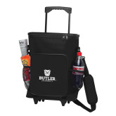 30 Can Black Rolling Cooler Bag-Butler University Stacked Bulldog Head