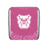 Nylon Pink Bubble Patterned Drawstring Backpack-Bulldog Head