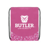 Nylon Pink Bubble Patterned Drawstring Backpack-Butler University Stacked Bulldog Head