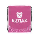 Nylon Pink Bubble Patterned Drawstring Backpack-Butler University Stacked Bulldog Head