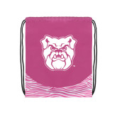 Nylon Zebra Pink/White Patterned Drawstring Backpack-Bulldog Head