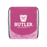 Nylon Zebra Pink/White Patterned Drawstring Backpack-Butler University Stacked Bulldog Head