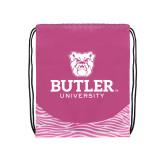 Nylon Zebra Pink/White Patterned Drawstring Backpack-Butler University Stacked Bulldog Head