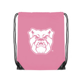 Light Pink Drawstring Backpack-Bulldog Head