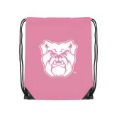 Light Pink Drawstring Backpack-Bulldog Head