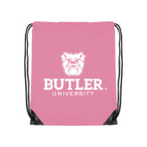 Light Pink Drawstring Backpack-Butler University Stacked Bulldog Head