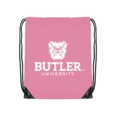 Light Pink Drawstring Backpack-Butler University Stacked Bulldog Head