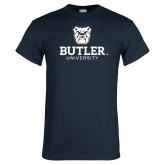 Navy T Shirt-Butler University Stacked Bulldog Head