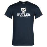 Navy T Shirt-Butler University Stacked Bulldog Head Distressed