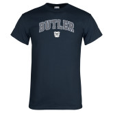 Navy T Shirt-Arched Butler w Bulldog Head