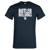 Navy T Shirt-Butler Bulldogs Stacked Block Texture