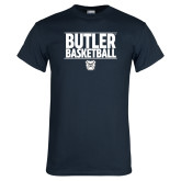 Navy T Shirt---Stacked Block Basketball