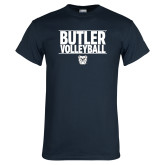 Navy T Shirt---Stacked Block Volleyball