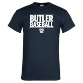 Navy T Shirt---Stacked Block Baseball