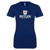 Next Level Ladies SoftStyle Junior Fitted Navy Tee-Butler University Stacked Bulldog Head